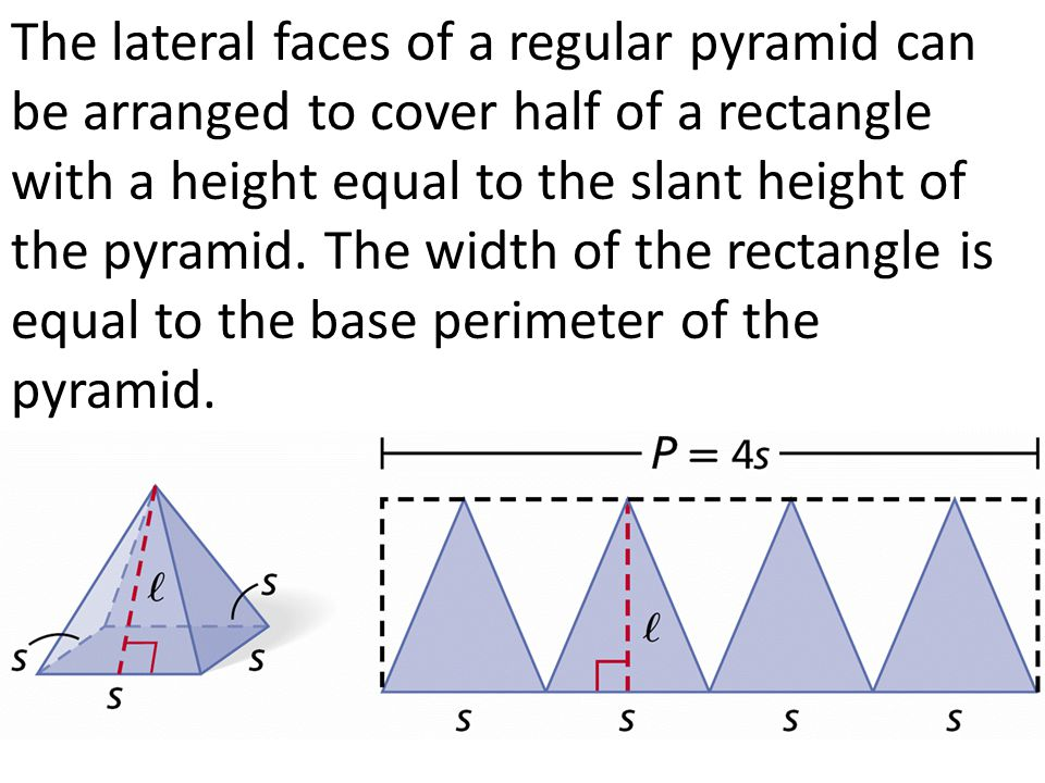 The lateral faces of a regular pyramid can be arranged to cover half of a rectangle with a height equal to the slant height of the pyramid.
