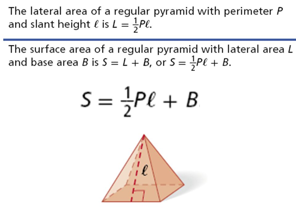 Add the surface area formula to the notes for pyramids.