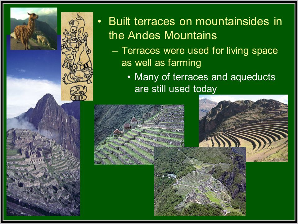 Built terraces on mountainsides in the Andes Mountains