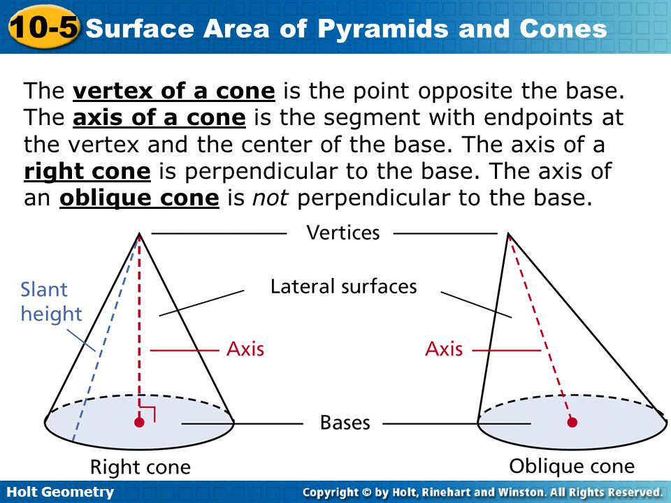 The vertex of a cone is the point opposite the base