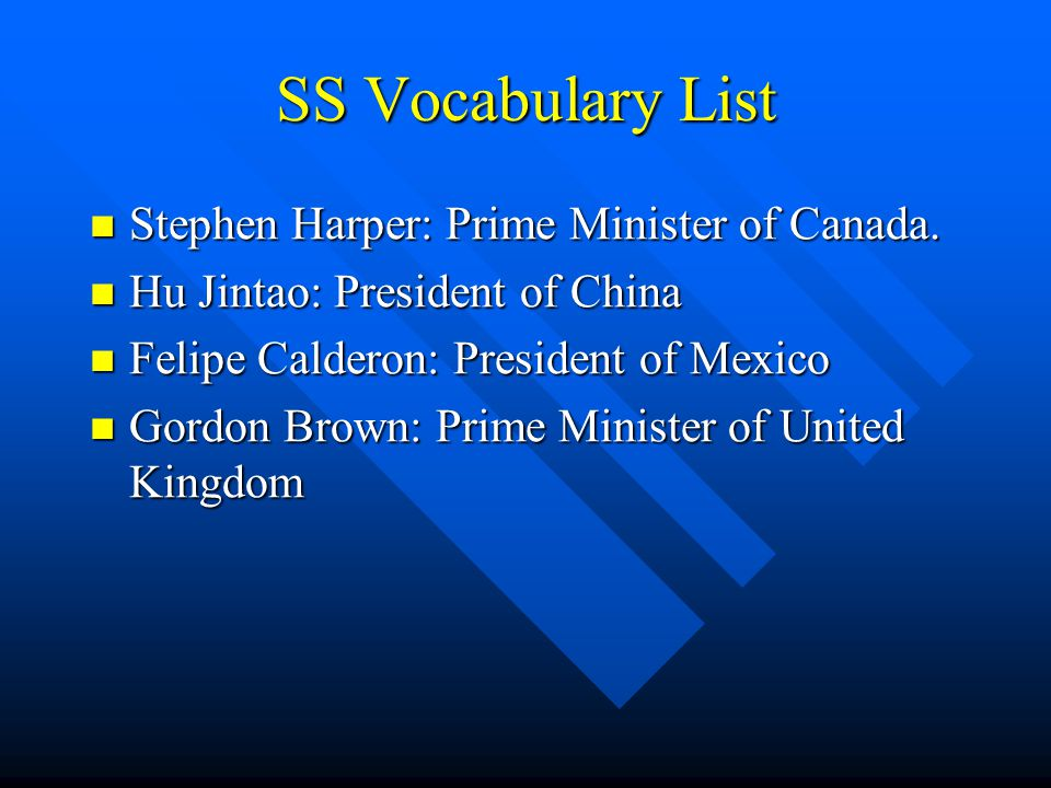 SS Vocabulary List Stephen Harper: Prime Minister of Canada.
