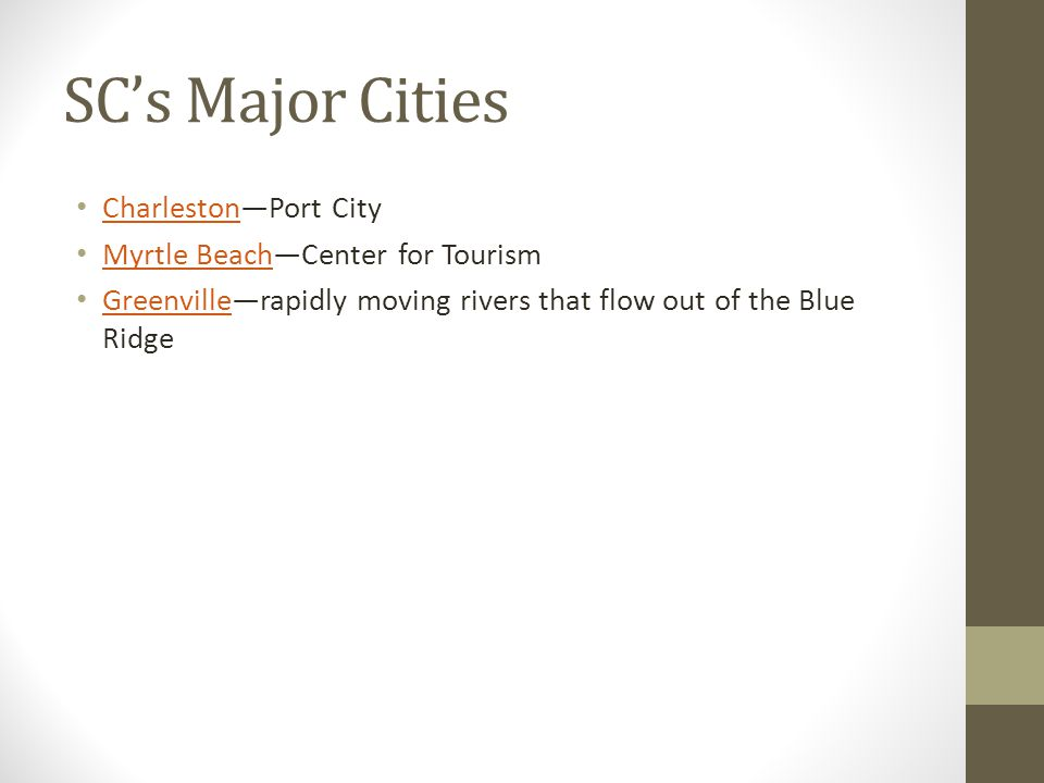 SC's Major Cities Charleston—Port City Myrtle Beach—Center for Tourism