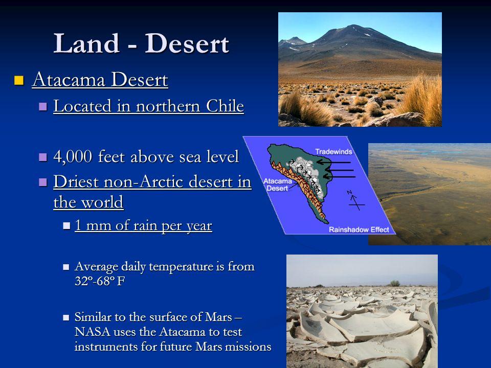 Land - Desert Atacama Desert Located in northern Chile