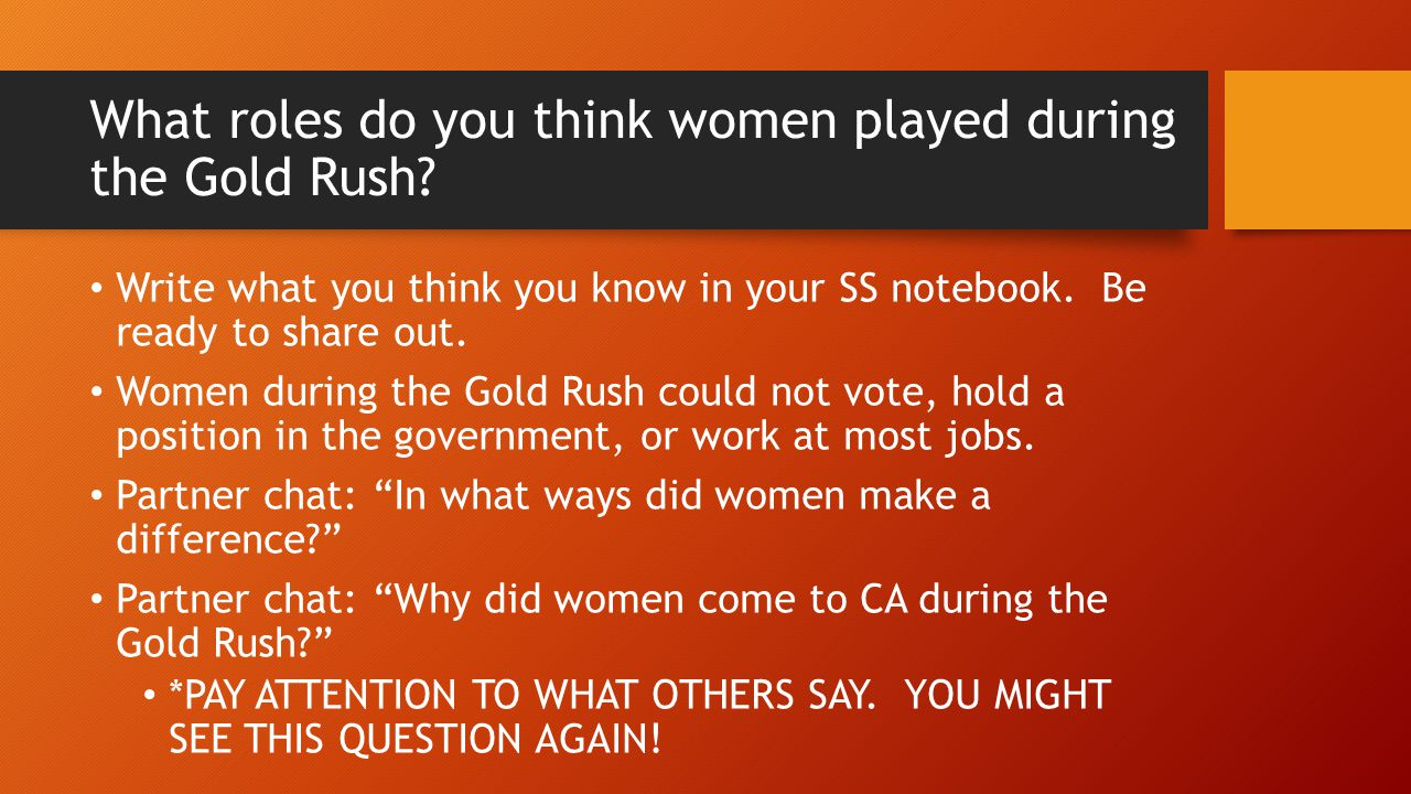 What roles do you think women played during the Gold Rush