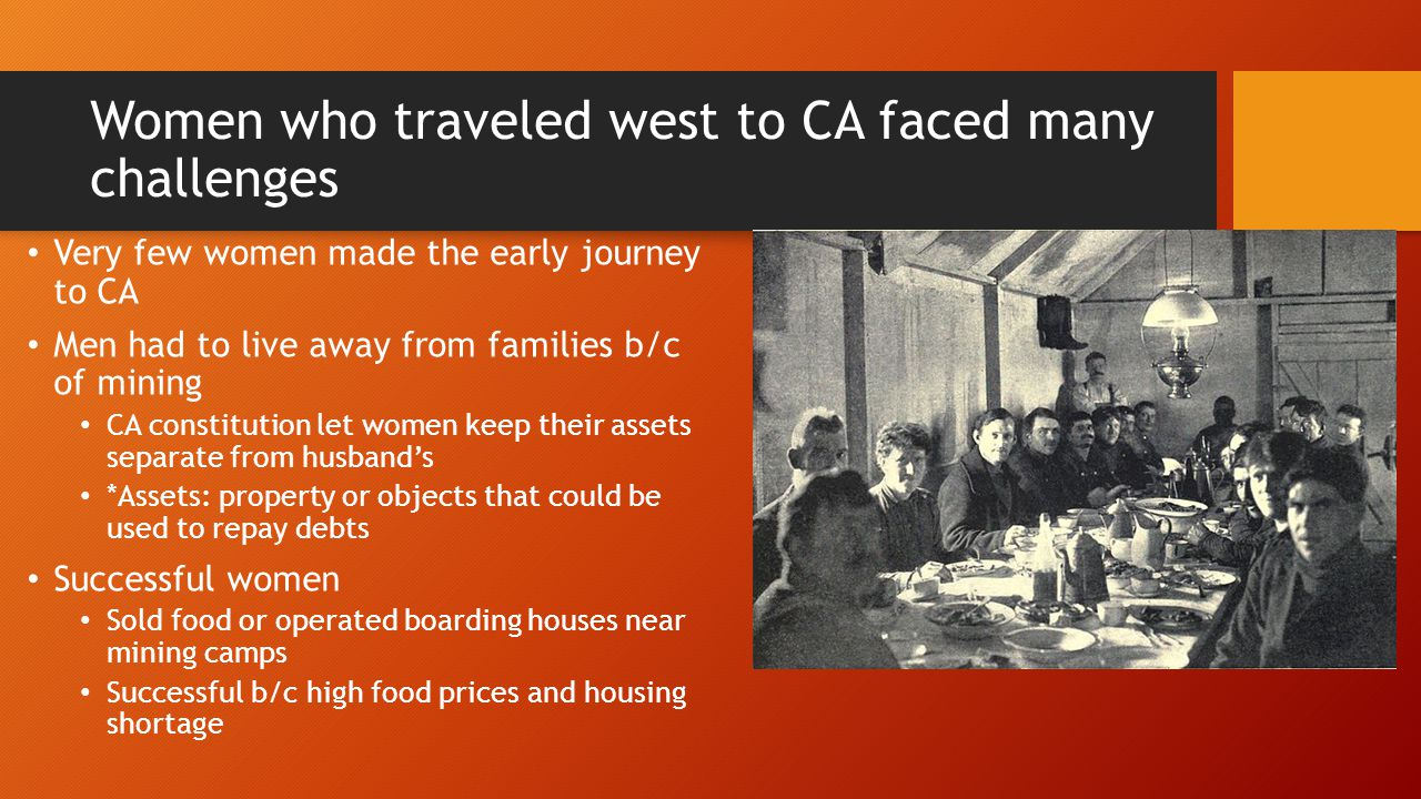 Women who traveled west to CA faced many challenges