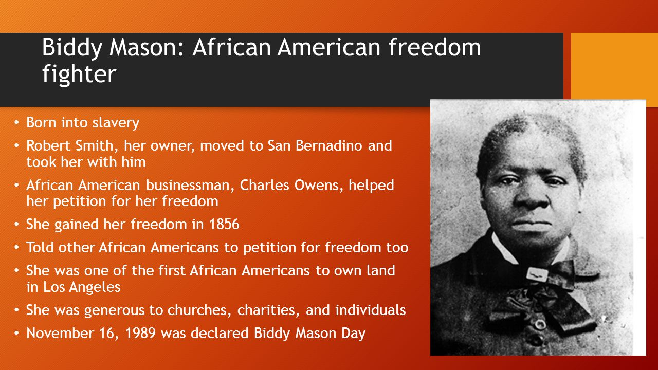 Biddy Mason: African American freedom fighter