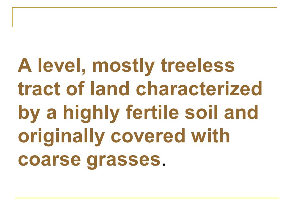 A level, mostly treeless tract of land characterized by a highly fertile soil and originally covered with coarse grasses.