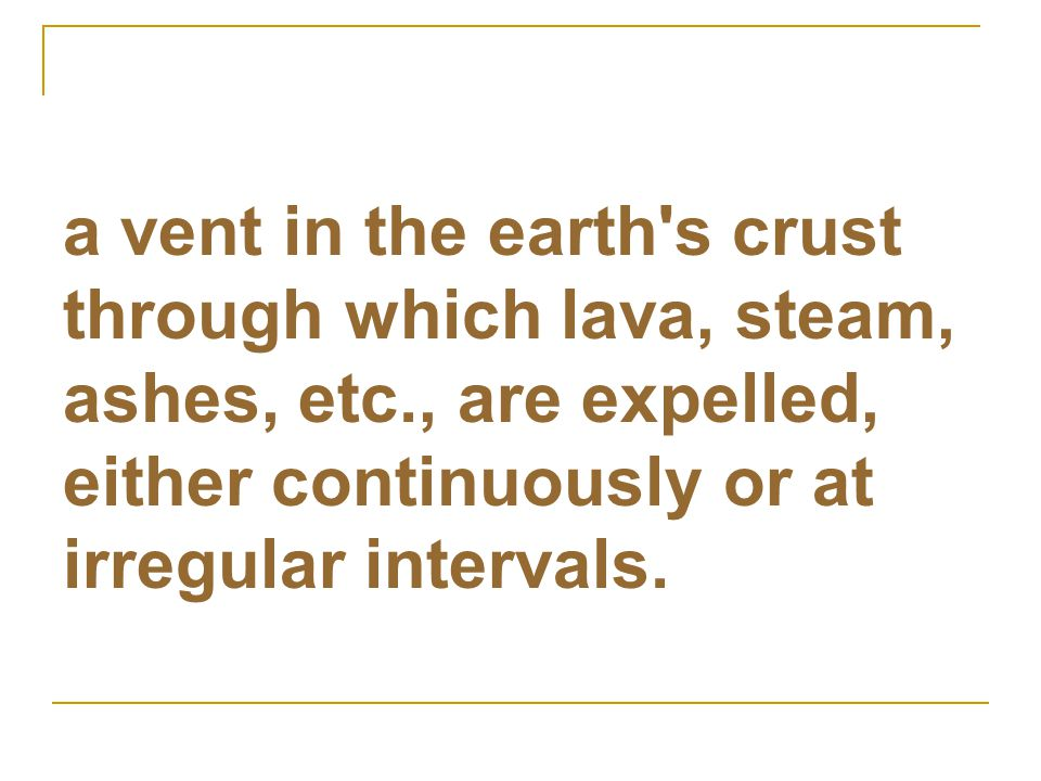 a vent in the earth s crust through which lava, steam, ashes, etc
