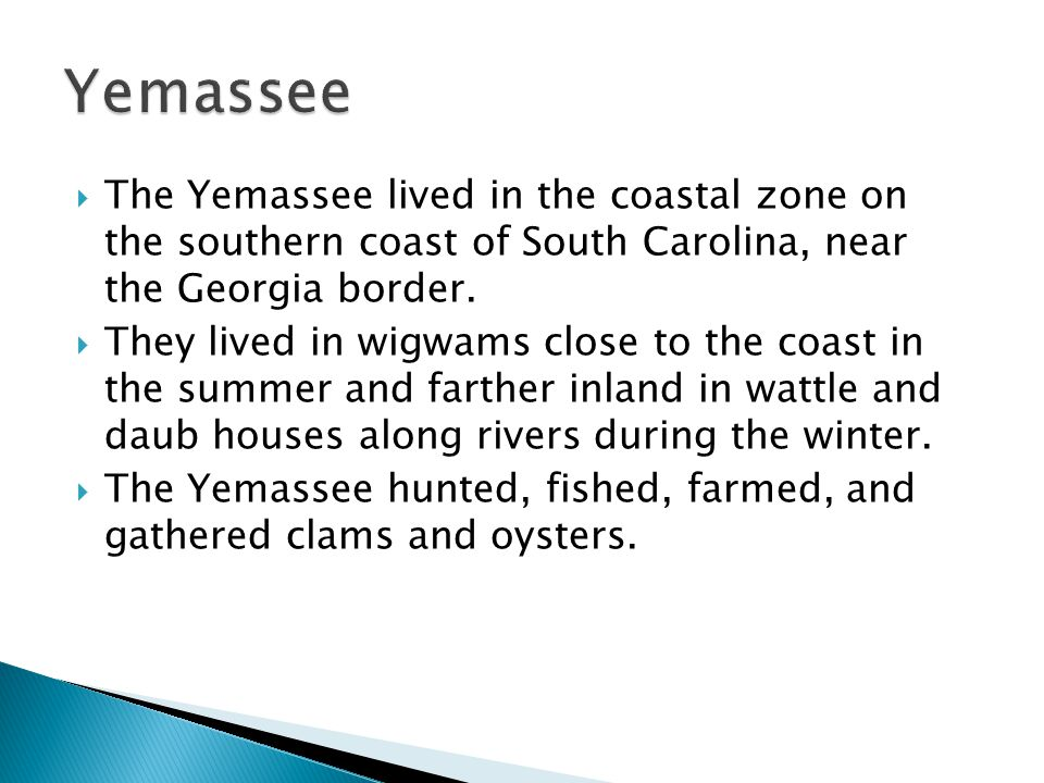 Yemassee The Yemassee lived in the coastal zone on the southern coast of South Carolina, near the Georgia border.