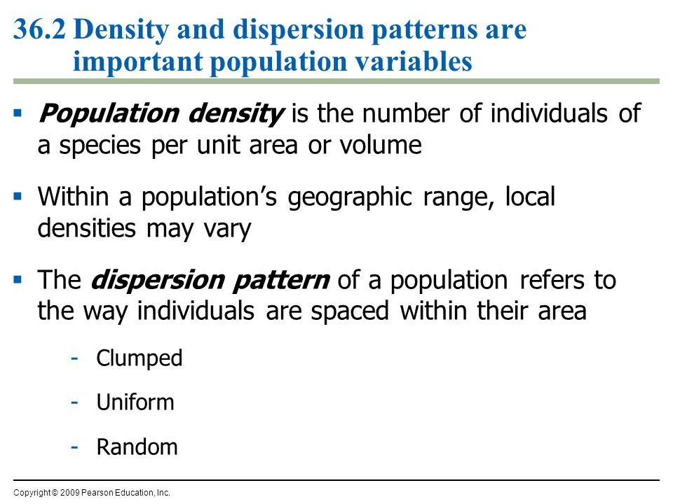 36.2 Density and dispersion patterns are important population variables