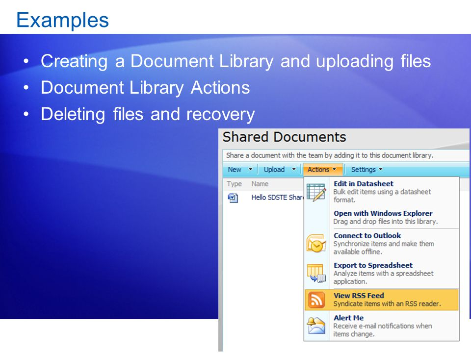 Examples Creating a Document Library and uploading files