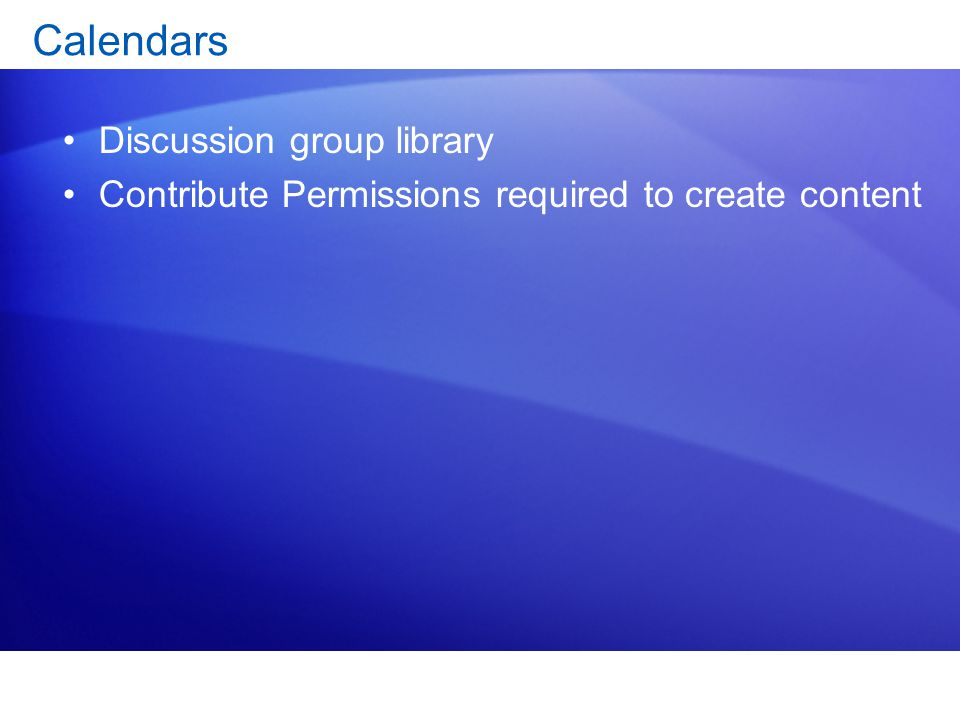 Calendars Discussion group library