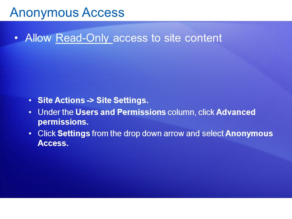 Anonymous Access Allow Read-Only access to site content