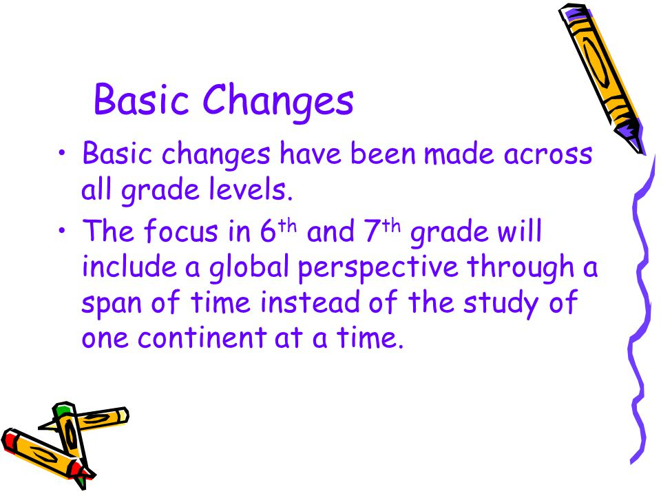 Basic Changes Basic changes have been made across all grade levels.