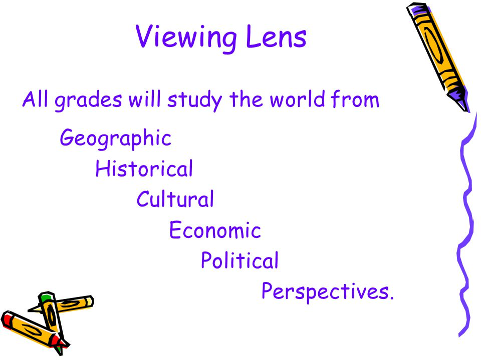 Viewing Lens All grades will study the world from Geographic