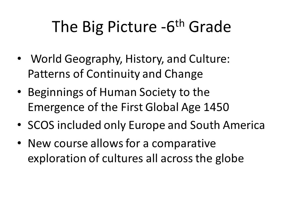The Big Picture -6th Grade