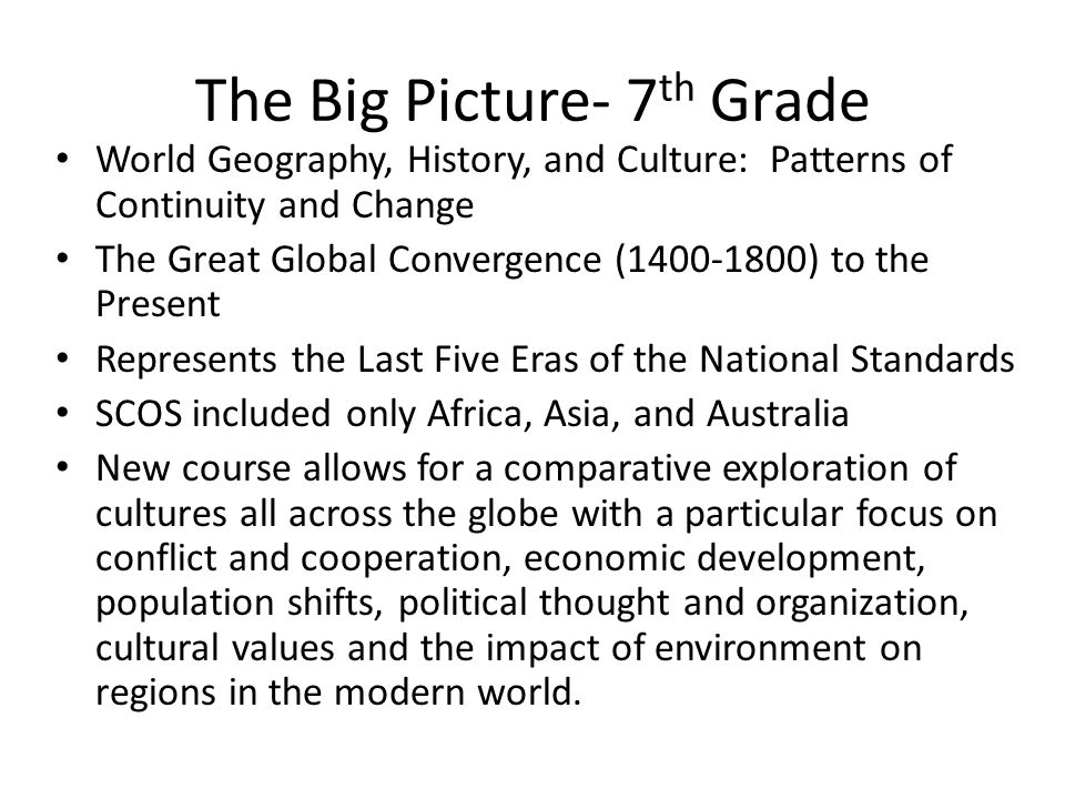 The Big Picture- 7th Grade
