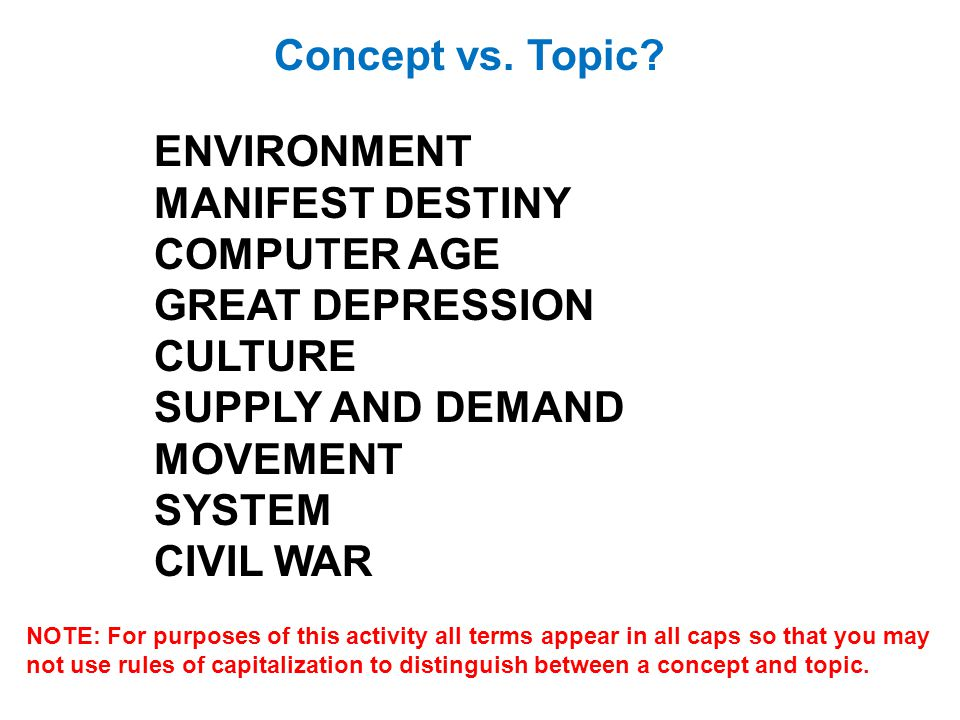 Concept vs. Topic ENVIRONMENT MANIFEST DESTINY COMPUTER AGE
