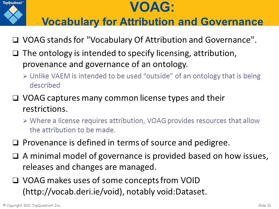 VOAG: Vocabulary for Attribution and Governance