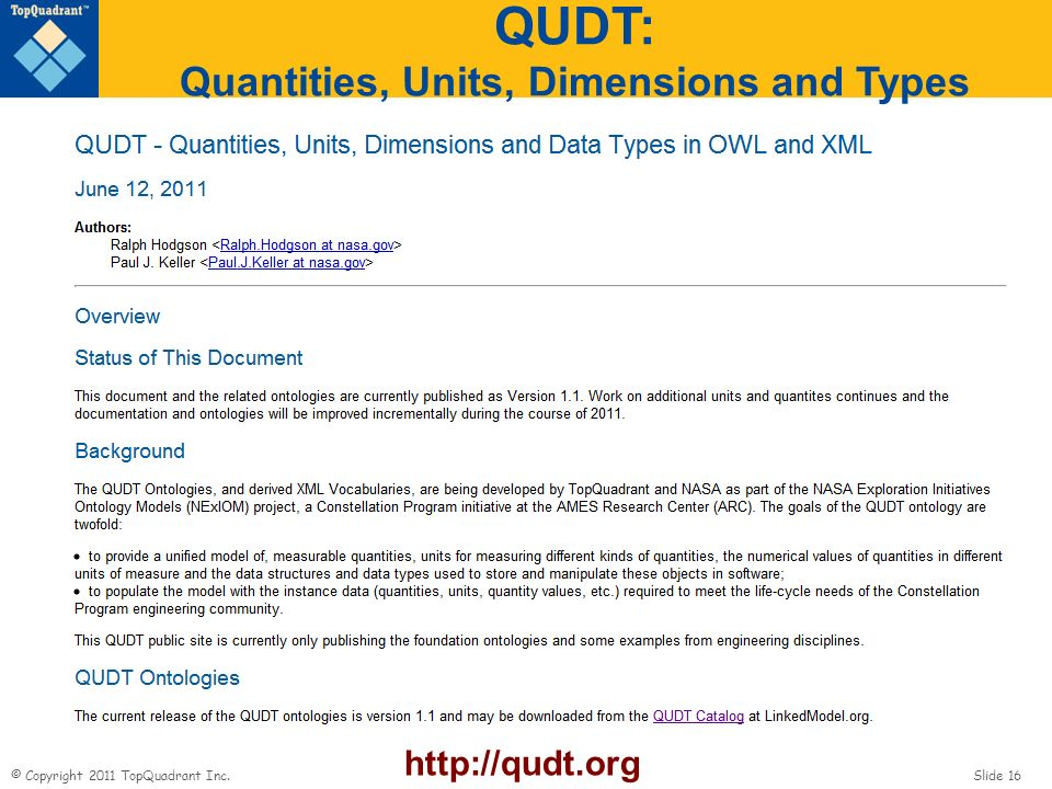 QUDT: Quantities, Units, Dimensions and Types