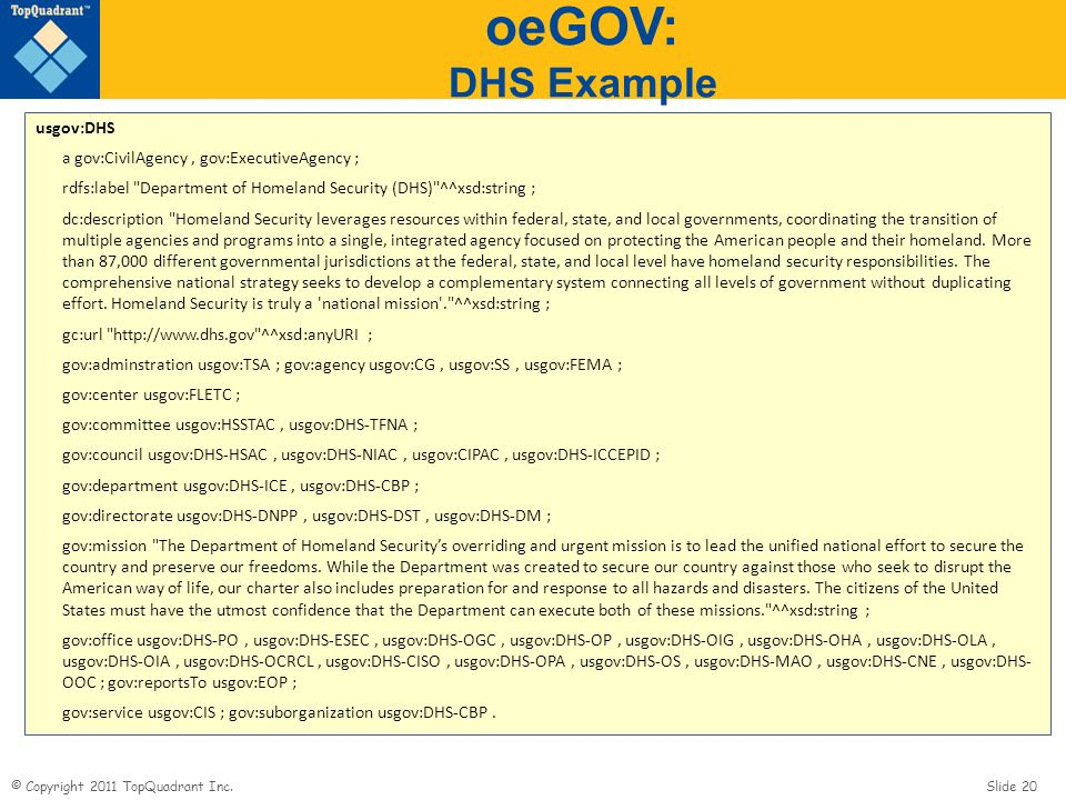 oeGOV: DHS Example usgov:DHS a gov:CivilAgency , gov:ExecutiveAgency ;
