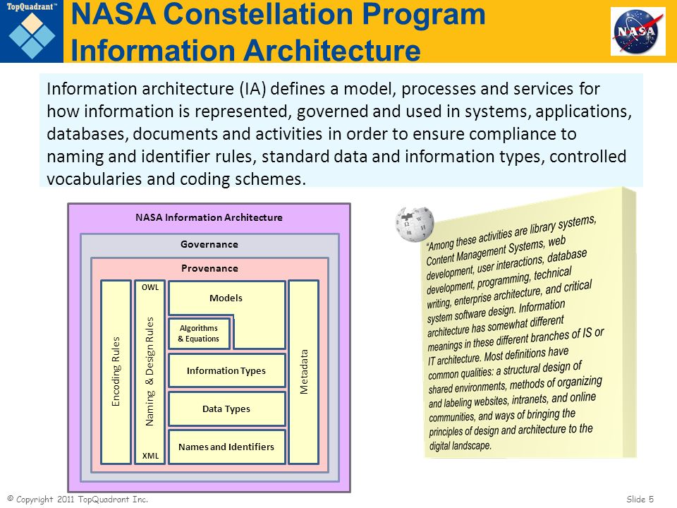 NASA Constellation Program Information Architecture