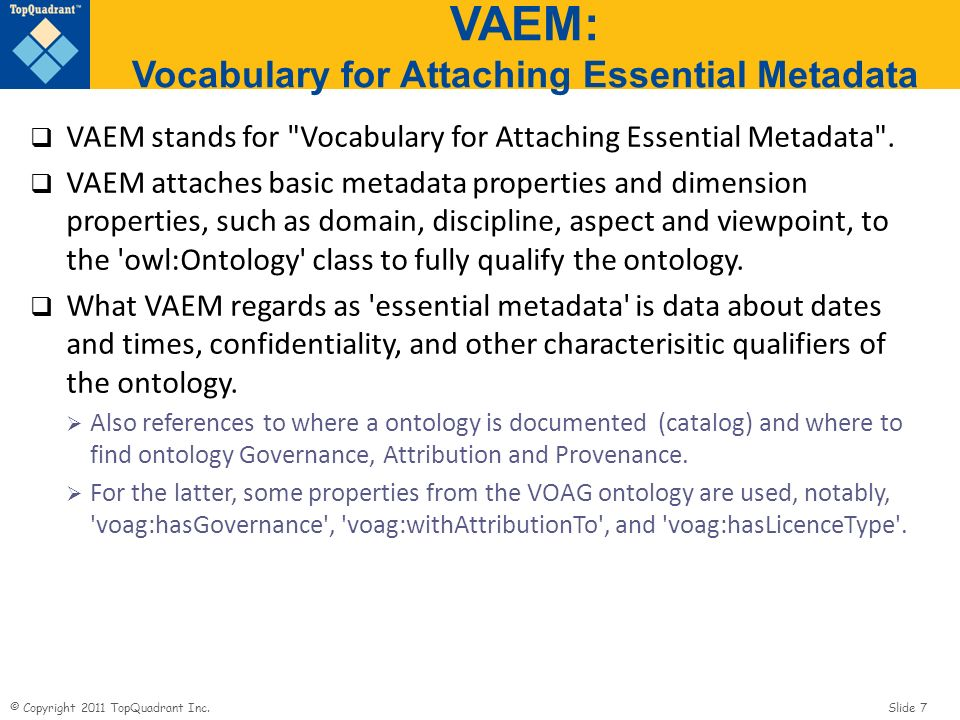 VAEM: Vocabulary for Attaching Essential Metadata
