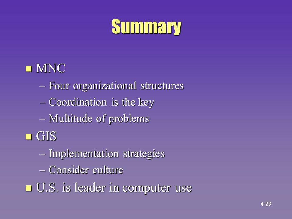 Summary MNC GIS U.S. is leader in computer use