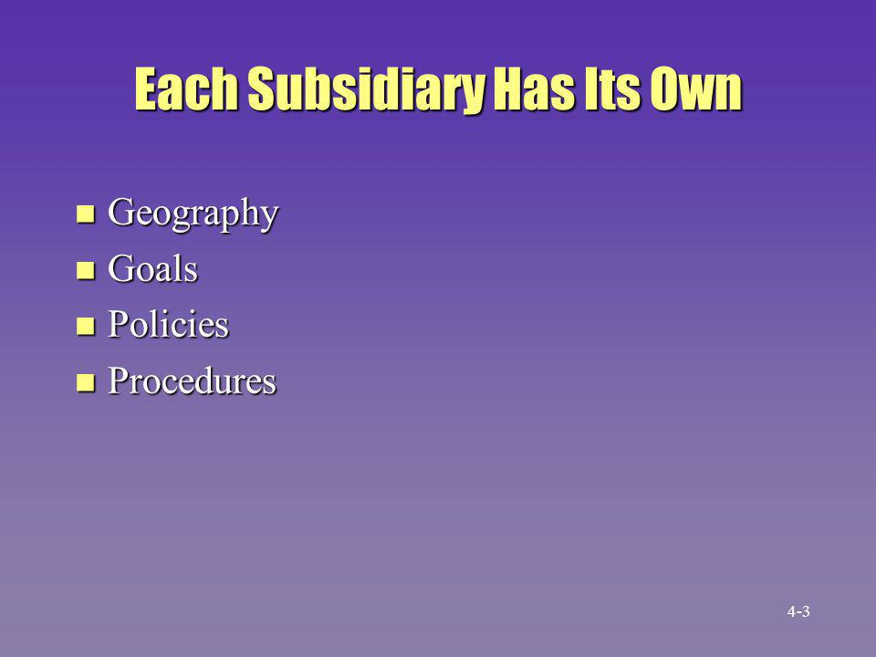 Each Subsidiary Has Its Own