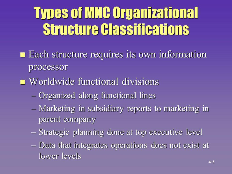 Types of MNC Organizational Structure Classifications