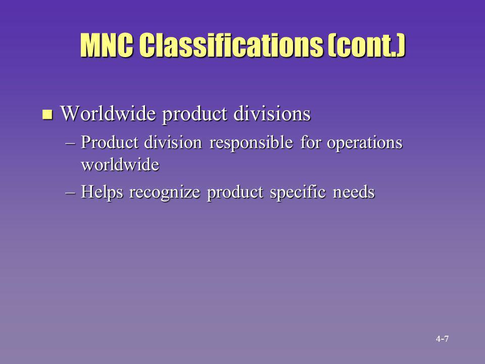 MNC Classifications (cont.)