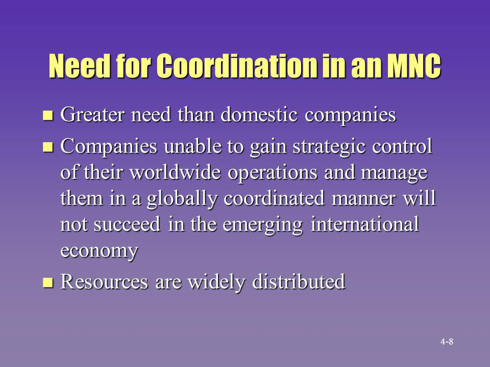 Need for Coordination in an MNC