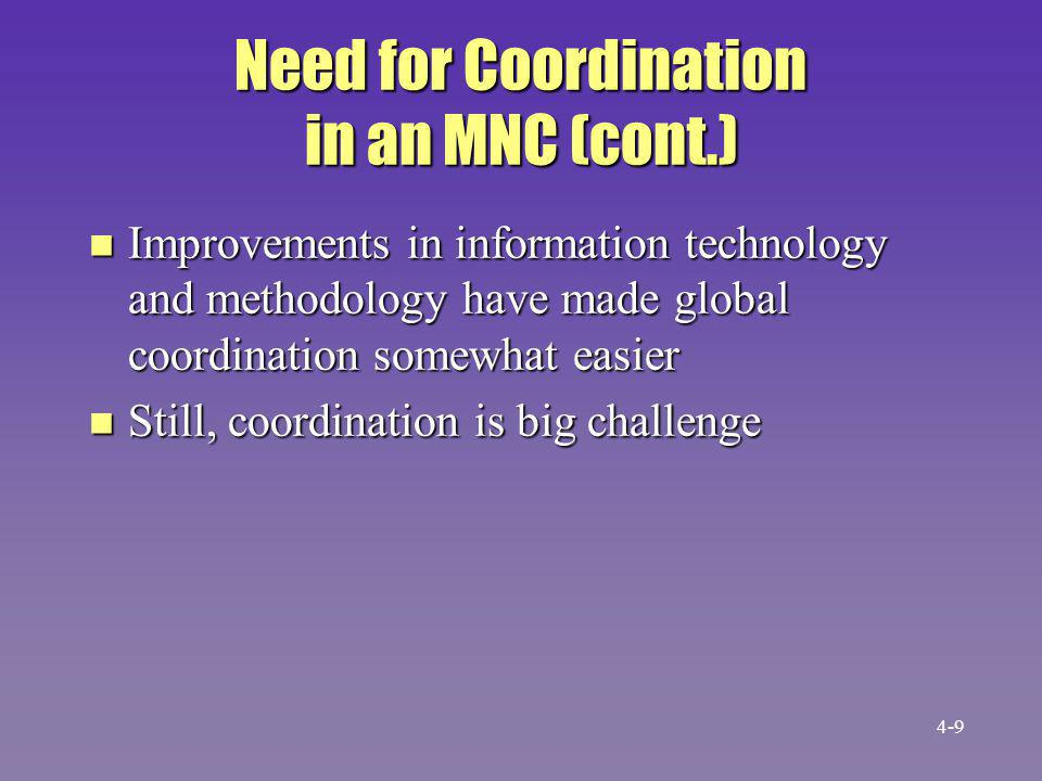 Need for Coordination in an MNC (cont.)