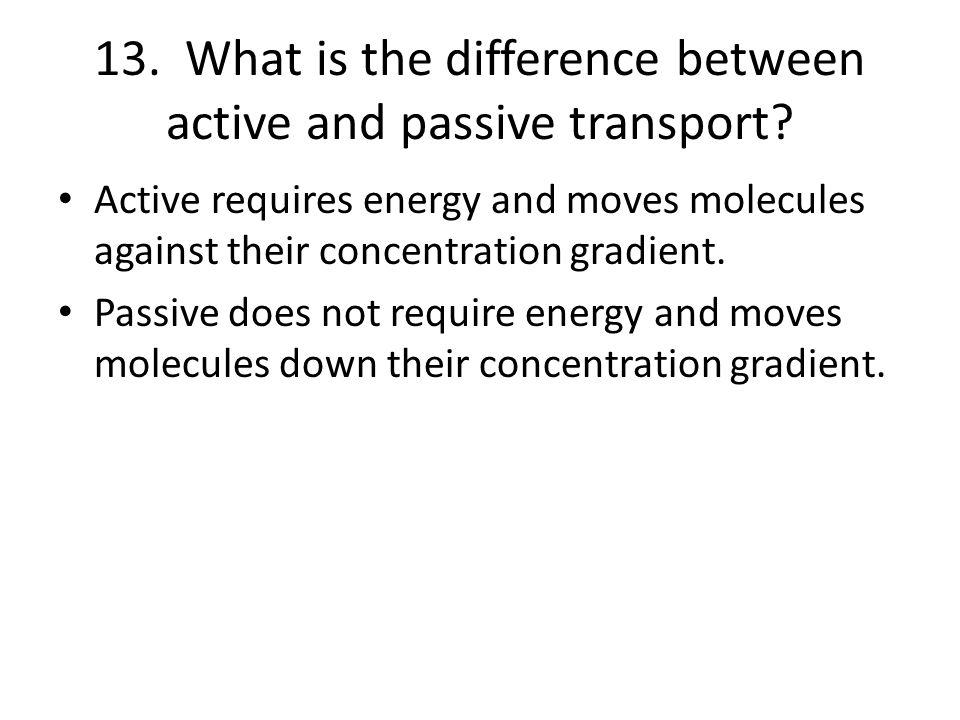 13. What is the difference between active and passive transport