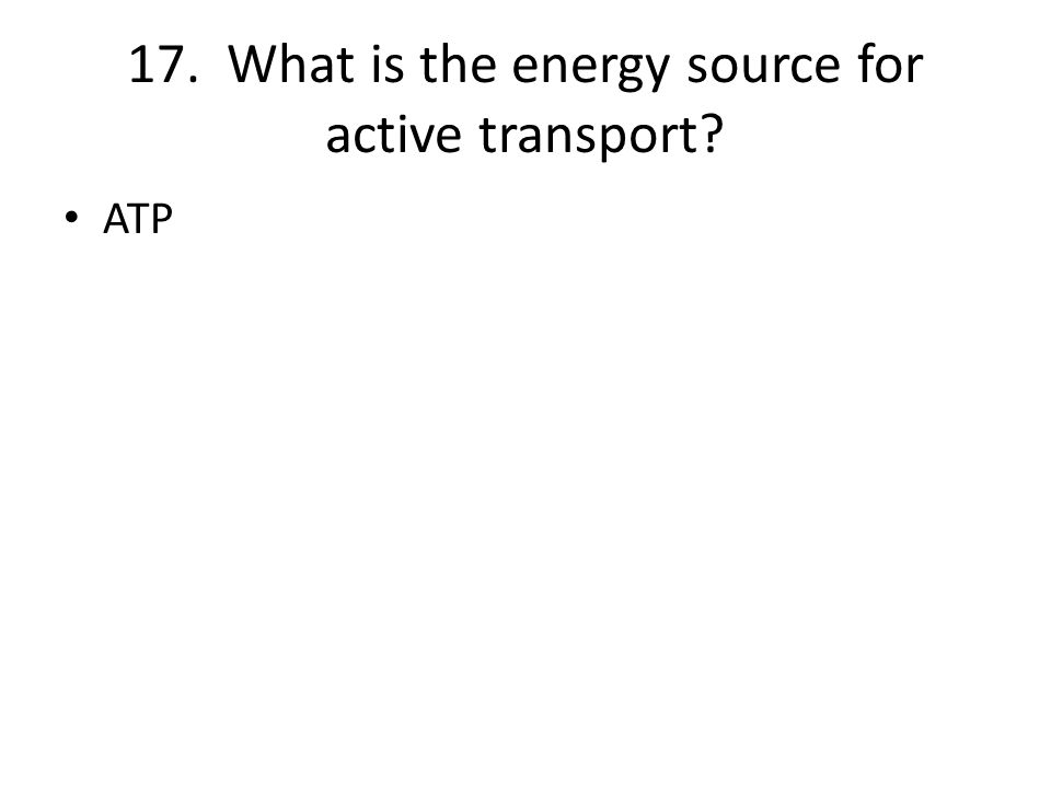 17. What is the energy source for active transport