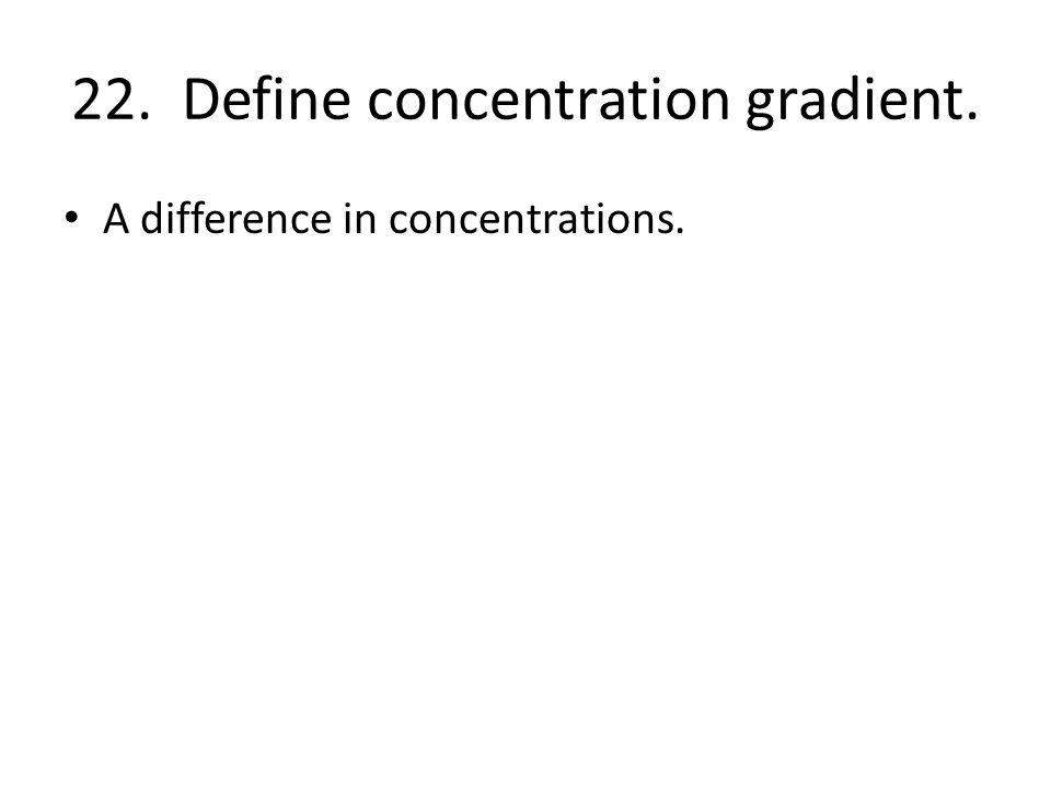 22. Define concentration gradient.