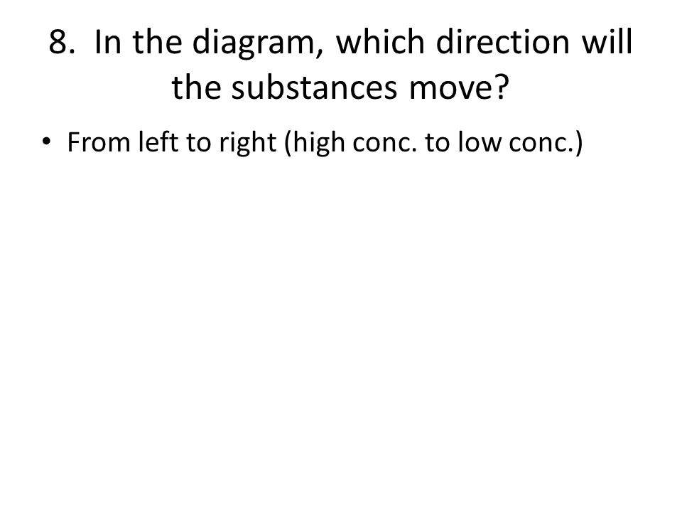 8. In the diagram, which direction will the substances move
