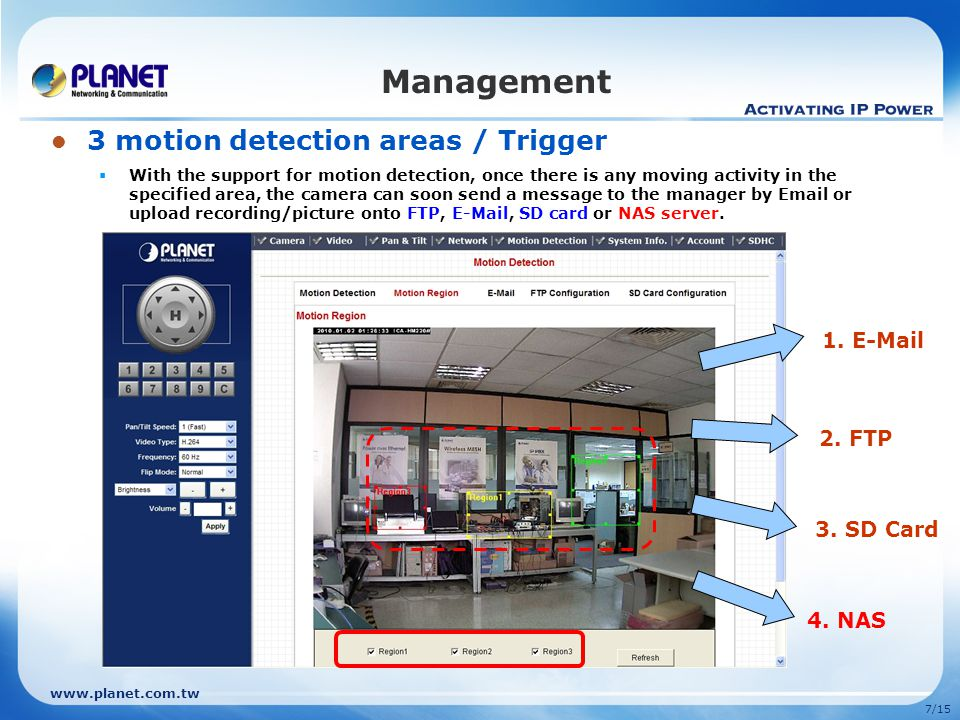 Management 3 motion detection areas / Trigger 1. E-Mail 2. FTP