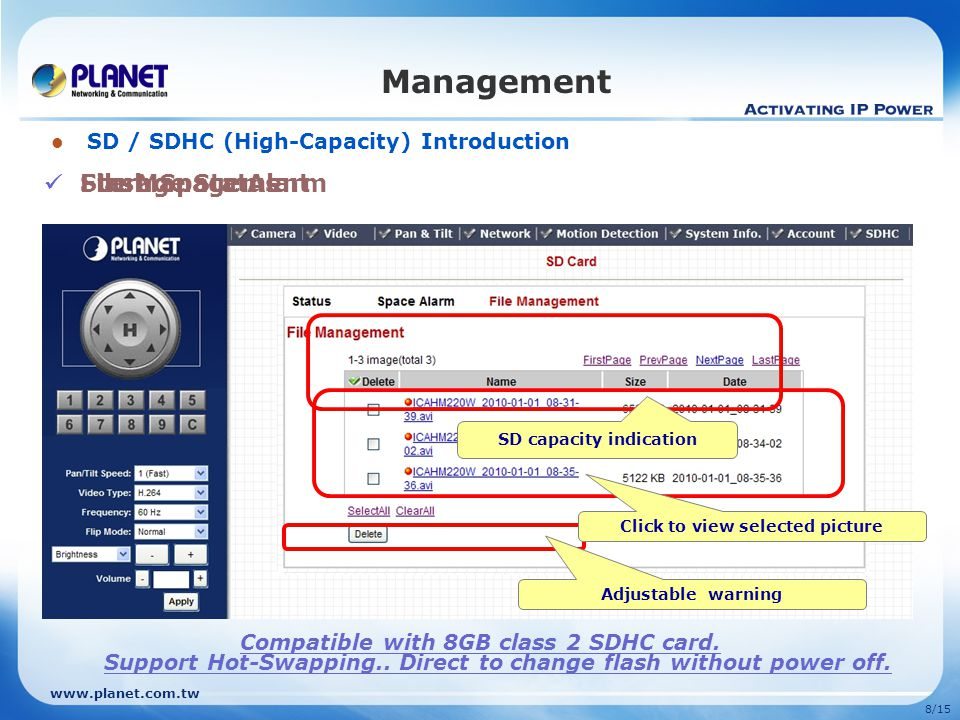 SD capacity indication Click to view selected picture