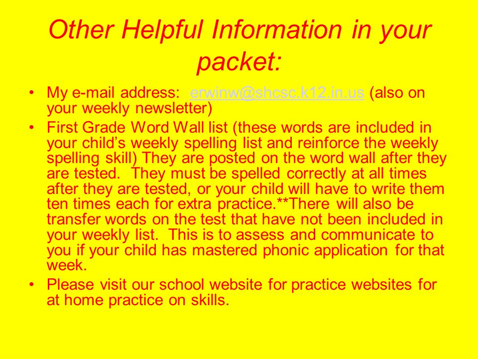 Other Helpful Information in your packet: