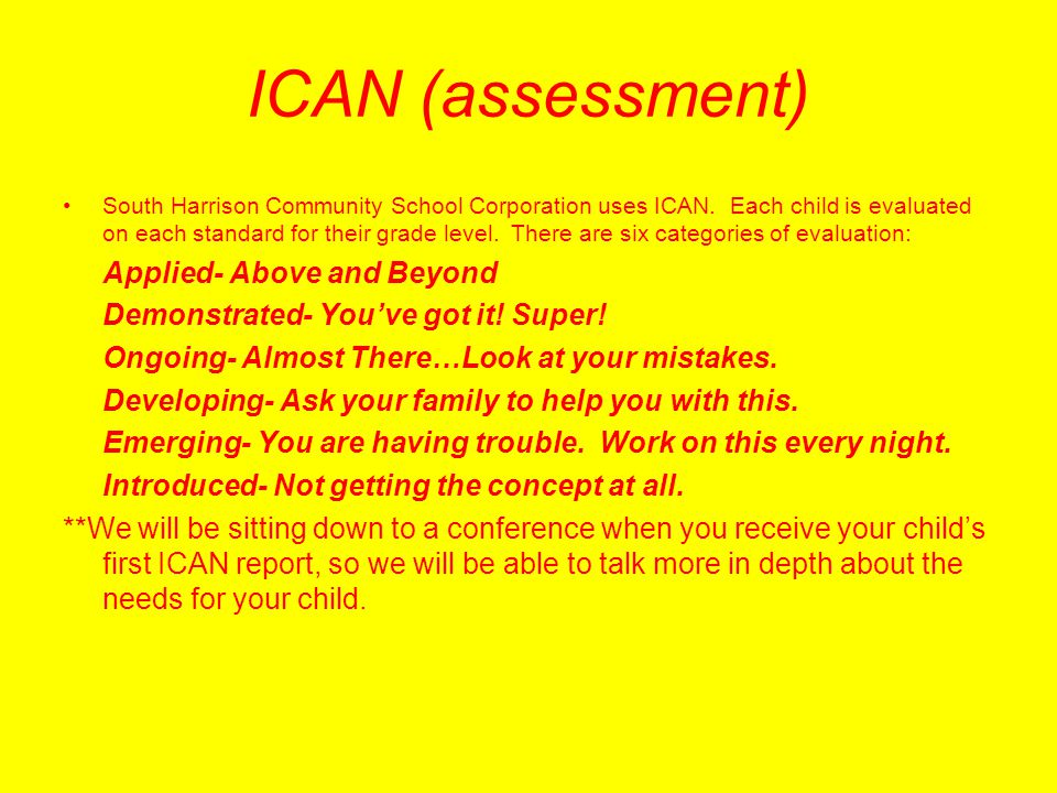 ICAN (assessment)‏ Demonstrated- You've got it! Super!