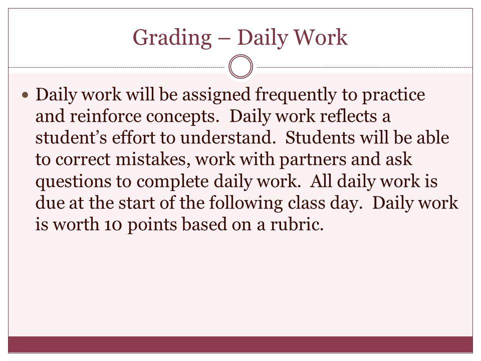 Grading – Daily Work