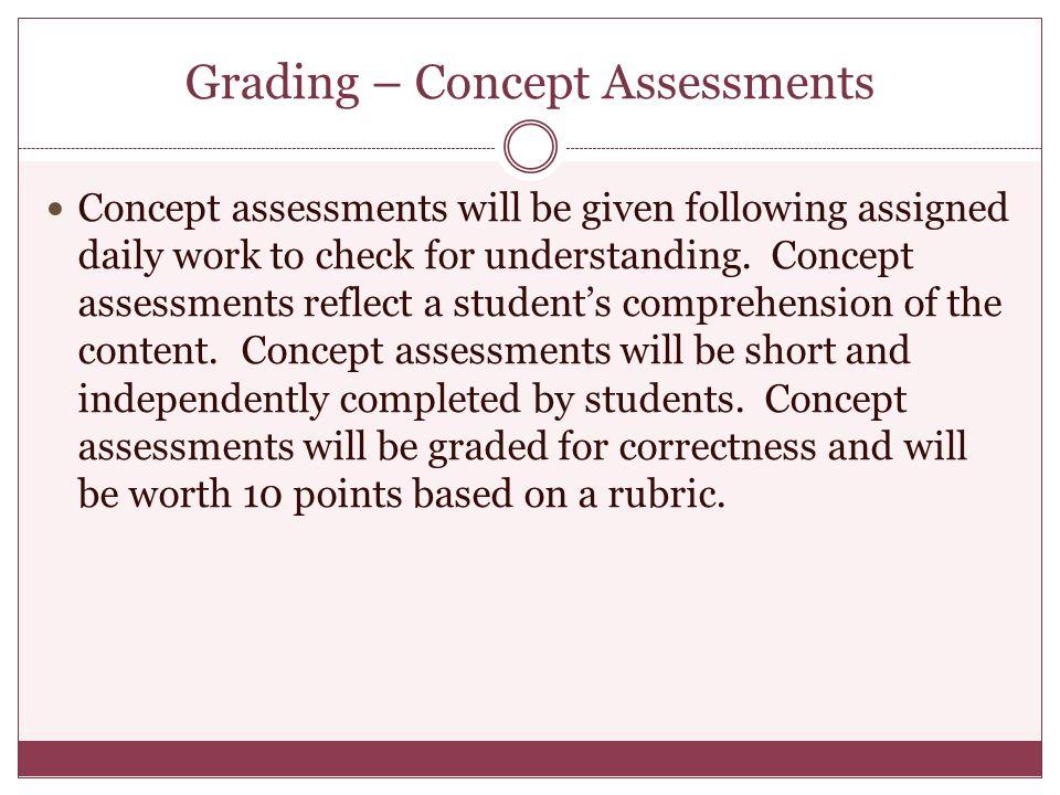 Grading – Concept Assessments