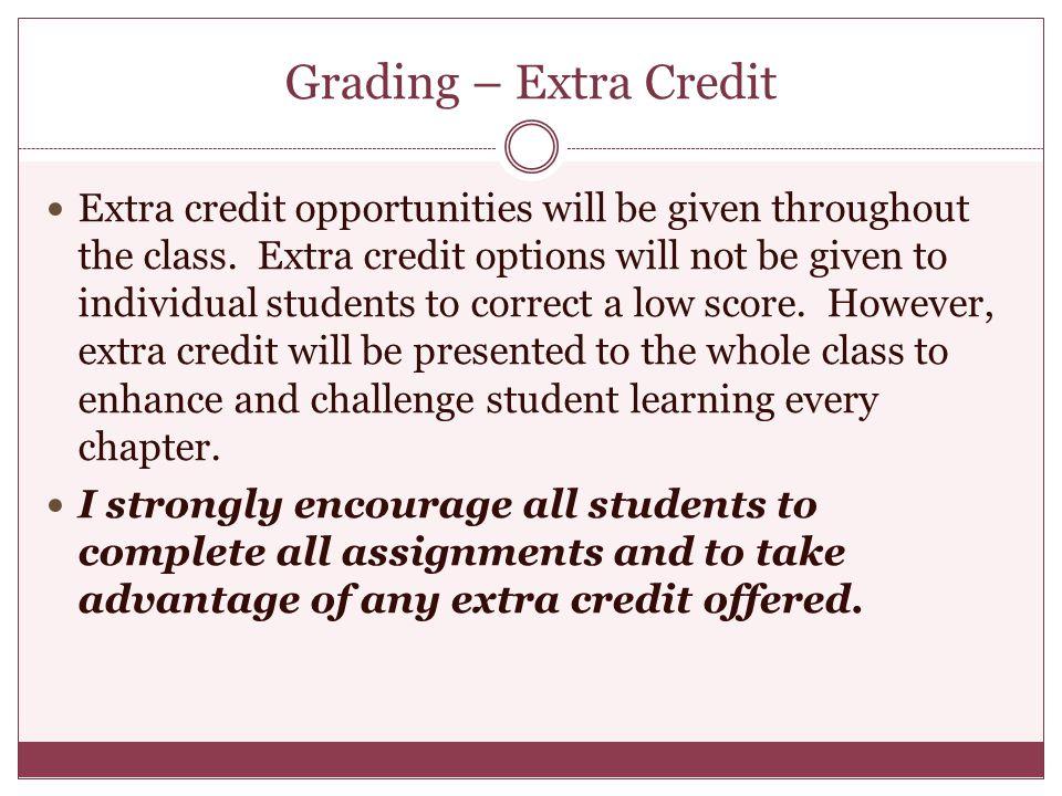 Grading – Extra Credit