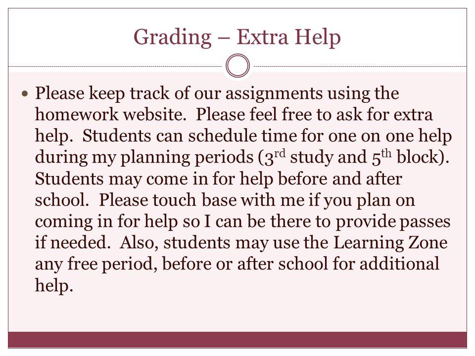 Grading – Extra Help