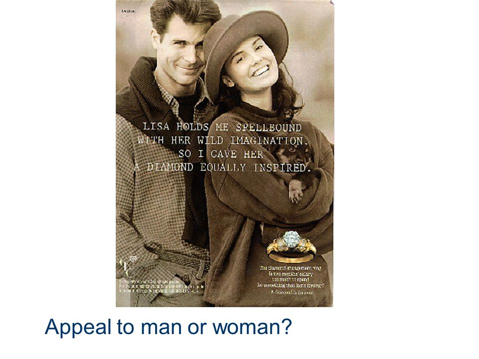 Appeal to man or woman
