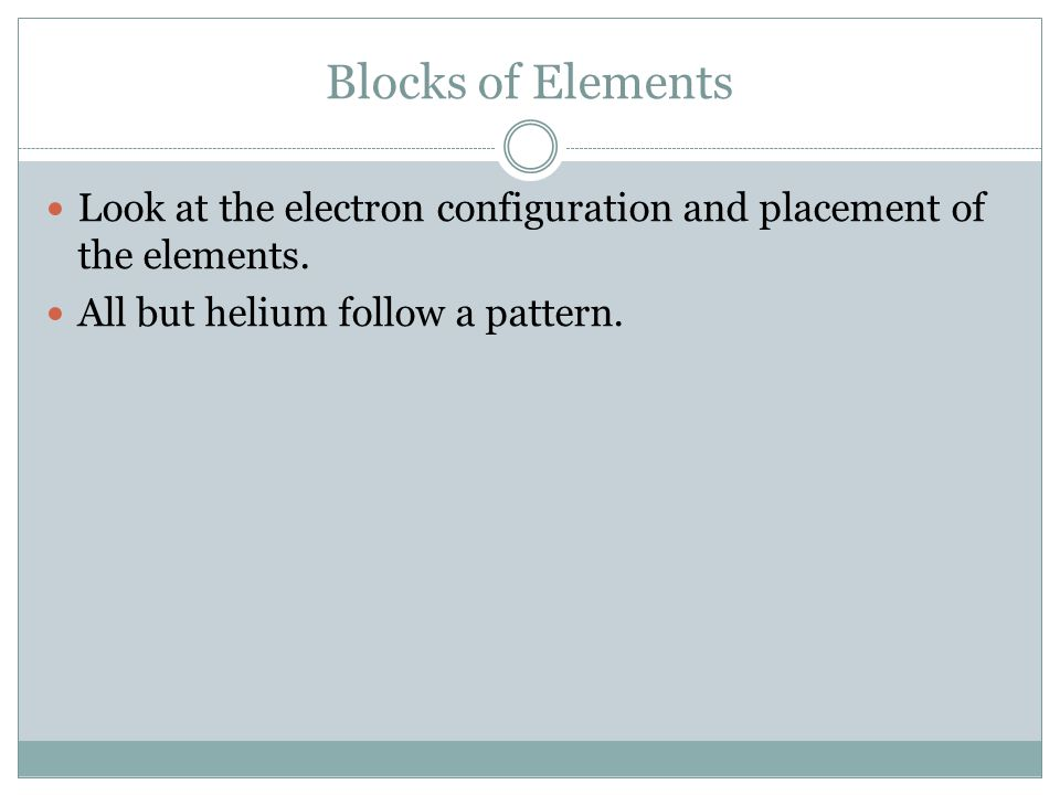 Blocks of Elements Look at the electron configuration and placement of the elements.