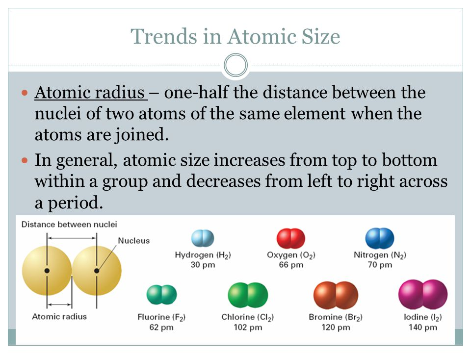 Trends in Atomic Size Atomic radius – one-half the distance between the nuclei of two atoms of the same element when the atoms are joined.