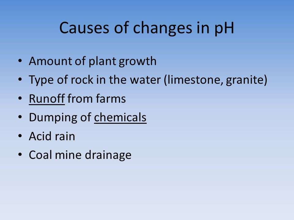 Causes of changes in pH Amount of plant growth