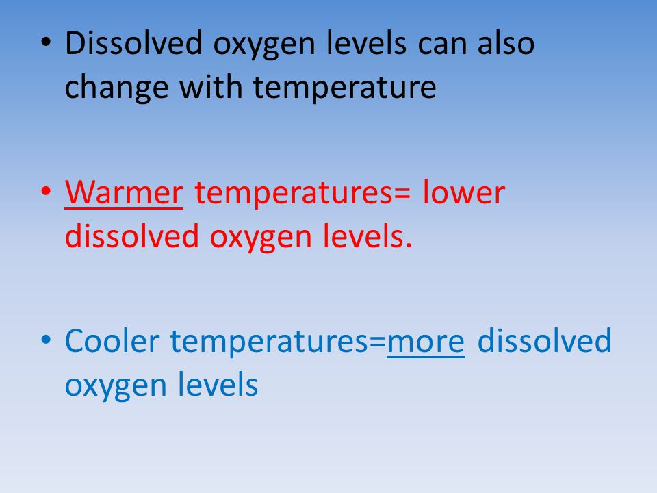 Dissolved oxygen levels can also change with temperature